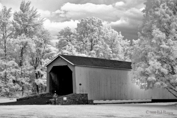 Covered Bridge, Lenape Park, in infrared